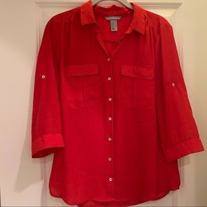 H&M Red Roll Tab Sleeve Blouse